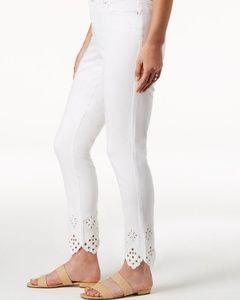 Charter Club White Eyelet Hem Skinny Jeans